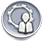 Grey circle icon with a person standing in front of a gear icon.
