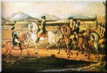 Image of President Washington, astride a white horse, reviews his troops at Carlisle, Pennsylvania in September 1794.