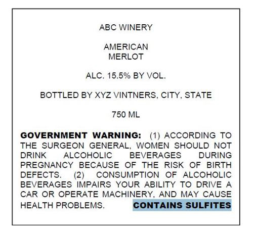 Wine Labeling: Health Warning Statement